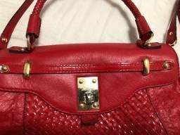 Bolsa vermelha em couro