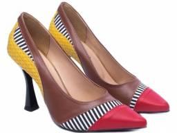 Sapato Scarpin Feminino Bico Fino Salto Alto Mod.:65099A