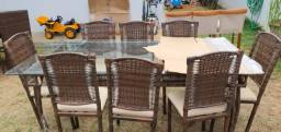 Mesa de Jantar de Fibra Sintética 8 Cadeiras