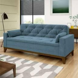 Sofá 4 Lugares Suede Azul