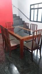 Mesa de jantar de tampo de vidro - 6 cadeiras
