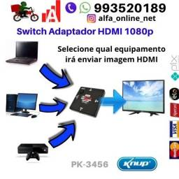 Adaptador Divisor Switch Hub Hdmi 3 Entradas e 1 Saida Kp-3456