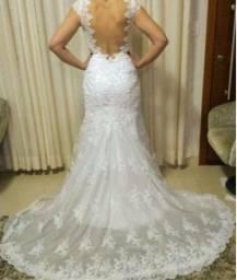Vestido de noiva semi sereia todo em renda - Eliana Zanini