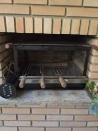 Grelha elétrica com grill para churrasqueira com 4 espaços