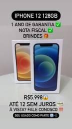 iPhone 12 128GB - 12x S/ Juros! N.F.  e Brindes!