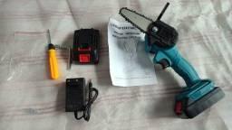 Mini Motosserra Elétrica Portátil Recarregável Bivolt 2 baterias
