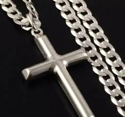 Corrente Cordão Prata Maciça 925 Grumet 60 Cm Pingente Crucifixo