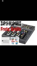 Mesa De Som Mixer Bluetooth Mp3 Player Digital Usb 4 Canais