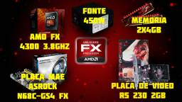 Kit fx 4300+ 8gb + r5 230 2gb + placa mae + fonte