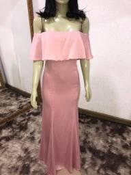 Vestido rosé liso novo