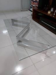 Mesa vidro pés alumínio