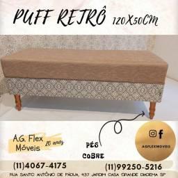 Puffs, Recamier,  Puff Retrô 120x50 (novo) revestimento impermeável