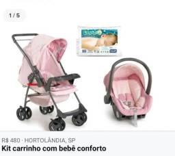 Kit carrinho de bebê + bebê conforto Galzerano