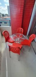 Mesa de alumínio + cadeiras