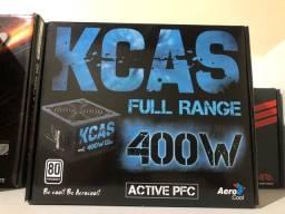 Fonte Aerocool: KCAS 400w, 80 Plus White. (PFC ATIVO)