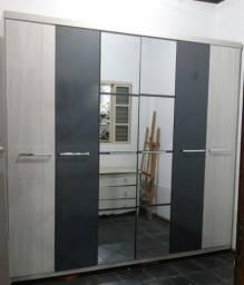Guarda roupa seis portas espelhado cinza - 504 Sul