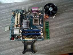 kit com placa mãe+processador+cooler+2gb de ram