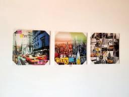 Kit com 3 Quadros decorativos - Nova Iorque 40cm X 40cm - novo