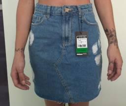 Saia jeans cintura alta - Youcom