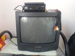 Tv mitsubishi 14 polegadas + conversor digital e controle remoto