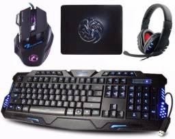 Kit Gamer Teclado Iluminado + Headset Usb + Mouse 3200 Dpi