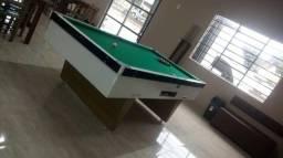 Mesa Comercial de Sinuca | Mesa Branca | Tecido Verde | Modelo: XEWQ9790
