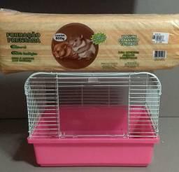 Gaiola para hamster com serragem