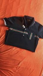 Blusa Gola polo azul escura listrada Gucci