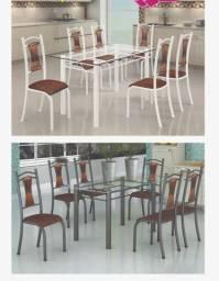Mesa lia -vidro 06 cadeiras zap *