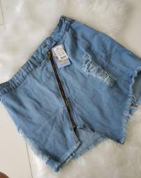 Saia jeans curta barata