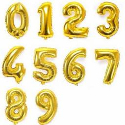 Balão Metalizado 16CM Dourado - Números