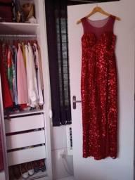 Vestido Vermelho Em Paetês Novo Nunca Usado