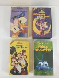 Quatro Fitas VHS com Filmes da Disney - Donald, Mickey Mouse, Tico e Teco e Vida de Inseto