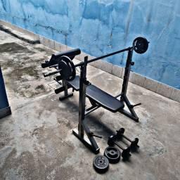 Estação para treino + barra+ alters + anilhas, juntos ou separados