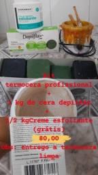 Kit termocera, 1 kg de cera e 1/2 kg de esfoliante corporal (grátis)