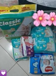 FRALDAS TAM. P LOTE PAMPERS, HUGGIES, NEEDS, CLASSIC BABY