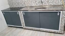 Fechamento de balcão de pia em aluminio e pvc adesivado