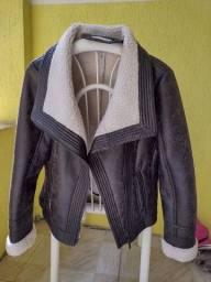 Jaqueta feminina marrom de couro ecológico- Tamanho M