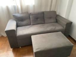Vendo Sofa cor Cinza com Pufe