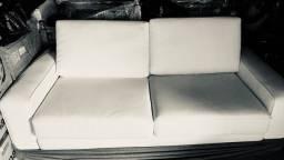 Sofá couro branco