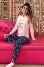 Novo - Lindos pijamas de inverno com calça e blusa algodão