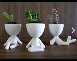 Vaso para planta bonequinho robert plan, vaso madeira bombu