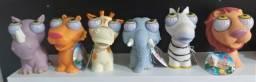 Lote de Coleção de 06 brinquedos de látex animais de apertar e sair os olhos