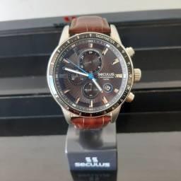Título do anúncio: Relógio Seculus 23649GPS Masculino, Pulseira de Couro, Cronógrafo, 10 ATM, Original, Novo
