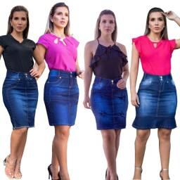 saias jeans moda evangélica atacado revenda