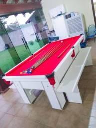Mesa de Bilhar Branca Tx Tecido Vermelho Mod BRA2896