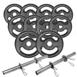 Kit halteres + barra + colchonete + caneleira + corda + roda abdominal + elastico