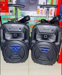 Som Bluetooth com rodinhas + microfone