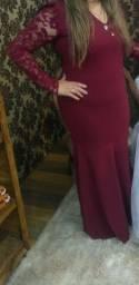 Vestido sereia marsala tamanho,médio ao g *