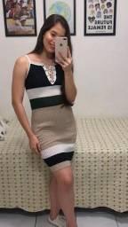 Vestido Canelado Alça Mudi Model